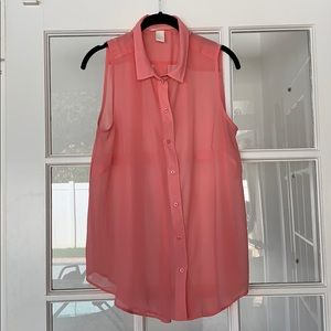 H&M bright pink collared sleeveless blouse